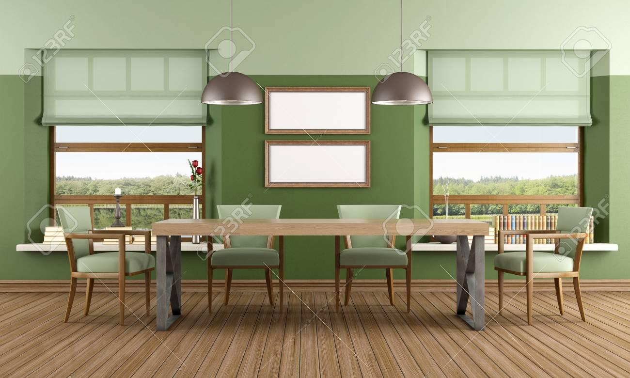 Immagini Stock Sala Verde Stanza Di Una Casa Sul Lago Camera