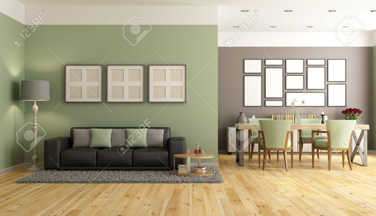 moderno soggiorno con divano, tavolo da pranzo e sedia - rendering ... - Soggiorno Moderno Con Tavolo E Divano