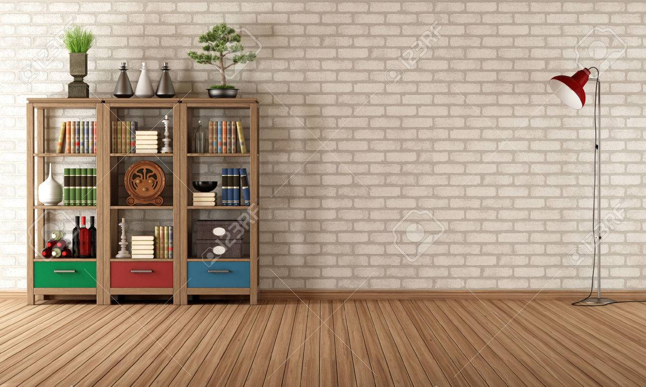 Empty Living Room With Vintage Bookcase   Rendering Stock Photo   23317053