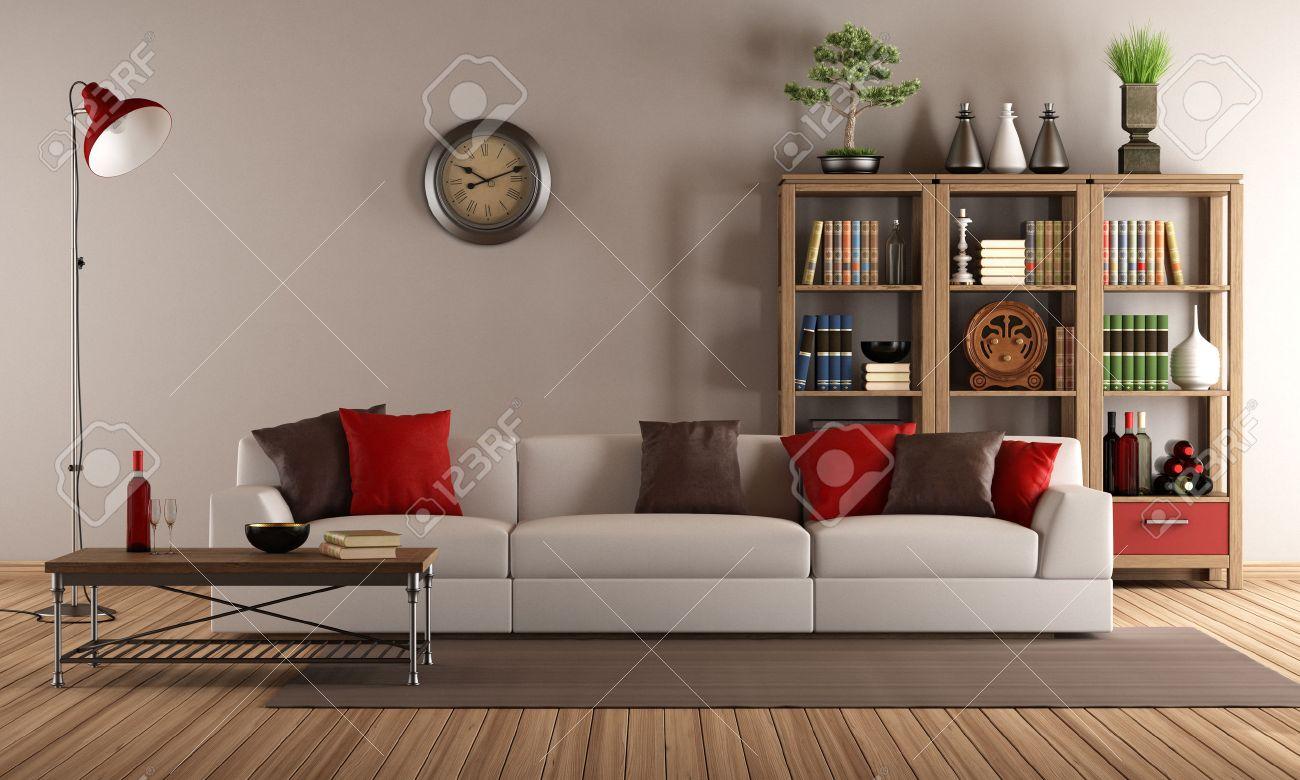 Canapé moderne avec des coussins colorés dans un salon millésime