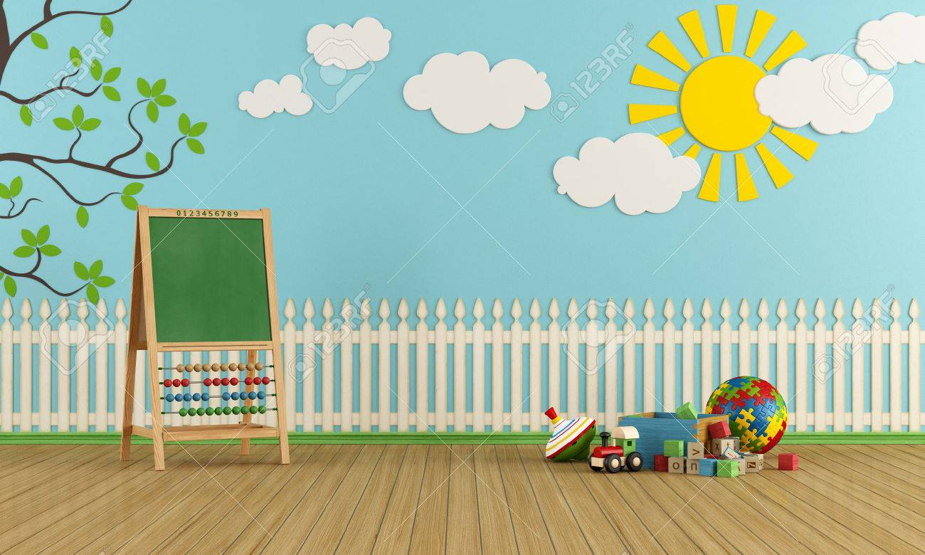 Playroom with wall decor, toys and blackboard with abacus - rendering Stock  Photo - 23718186