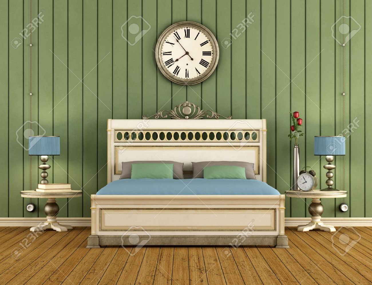 Weinlese Schlafzimmer Mit Grünen Wandverkleidung Und Klassische Bett    Machen Standard Bild   23718852