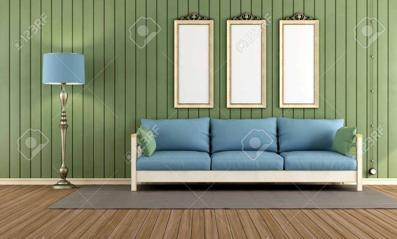 Vintage Room With Wooden Sofa And Green Wall Paneling