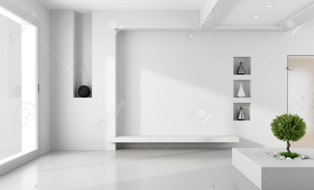 Minimalist White Room With Niche Without Furniture - Rendering ...