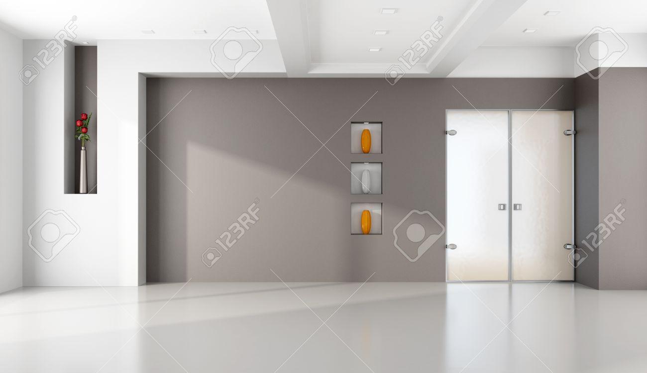 empty living room with niche and glass door - rendering Stock Photo - 24024342