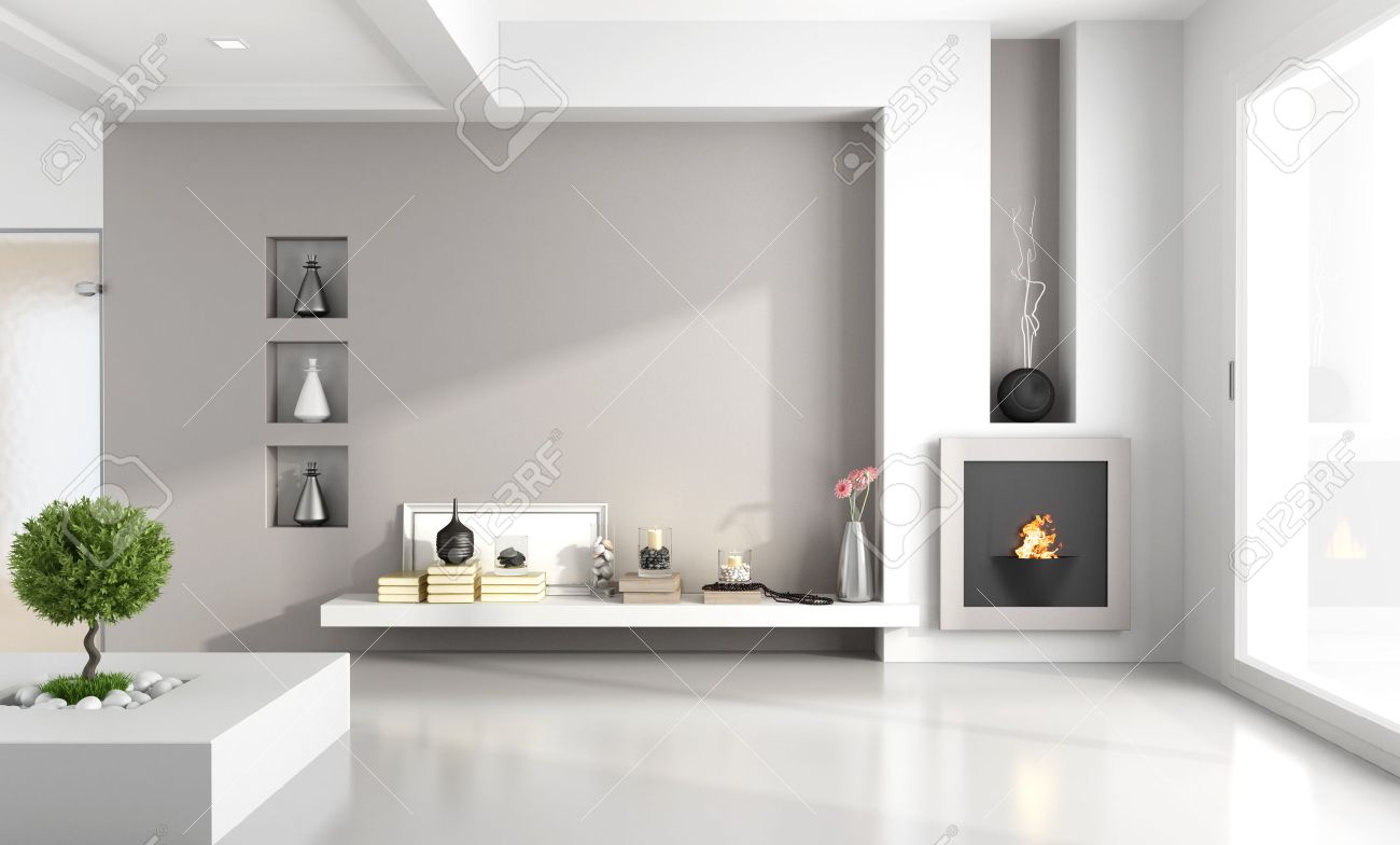 Minimalistische Wohnzimmer Mit Kamin Nische