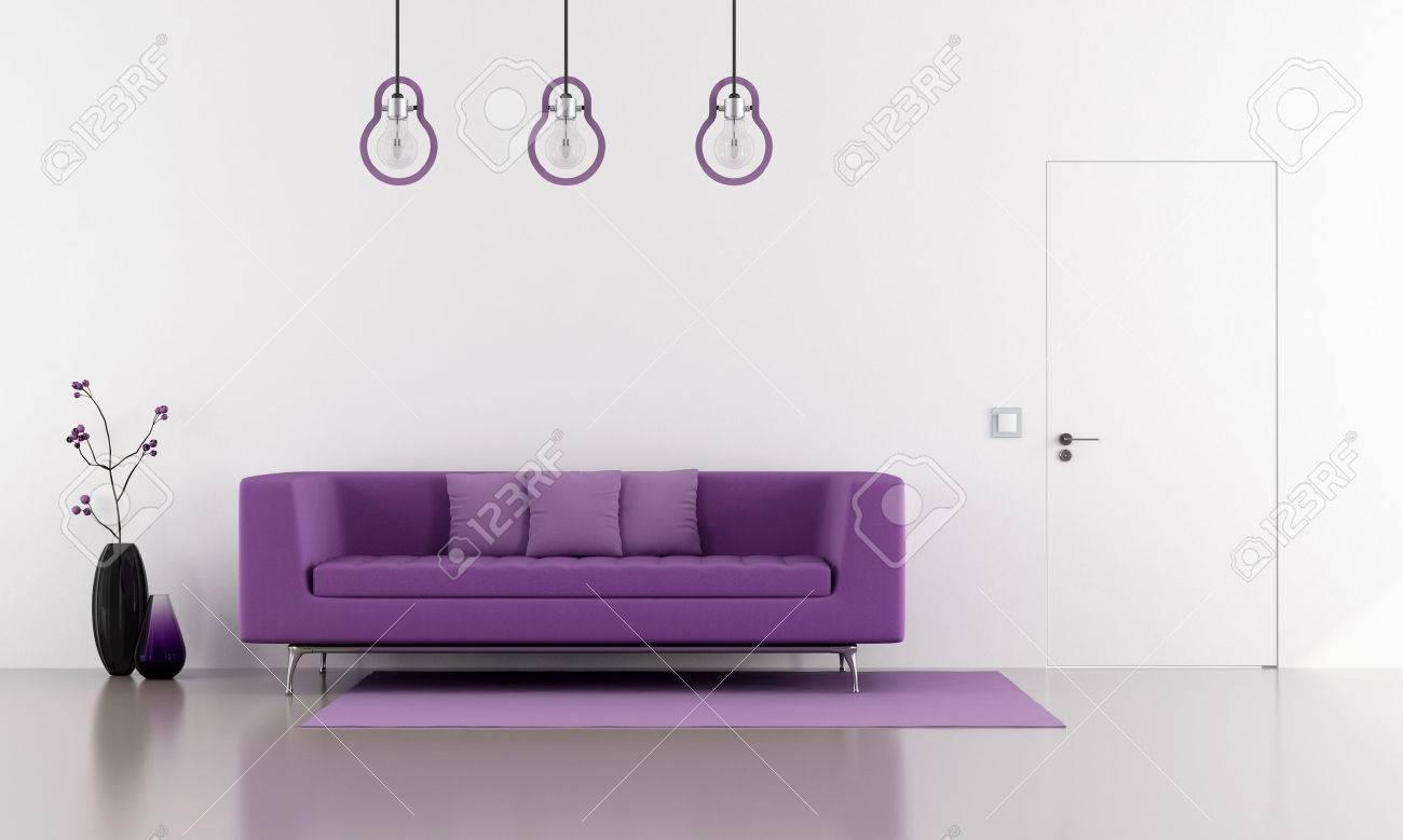 Lila soffa i en minimalistisk vit vardagsrum med dörr jäms med ...