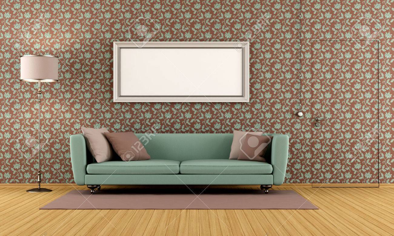 Vardagsrum med gamla tapeter och dörr jäms med väggen   rendering ...