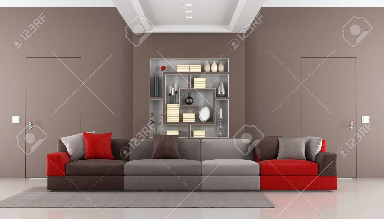 Brown livingroom with two doors flush with the wall,colorful sofa and bookcase - rendering Stock Photo - 24203783