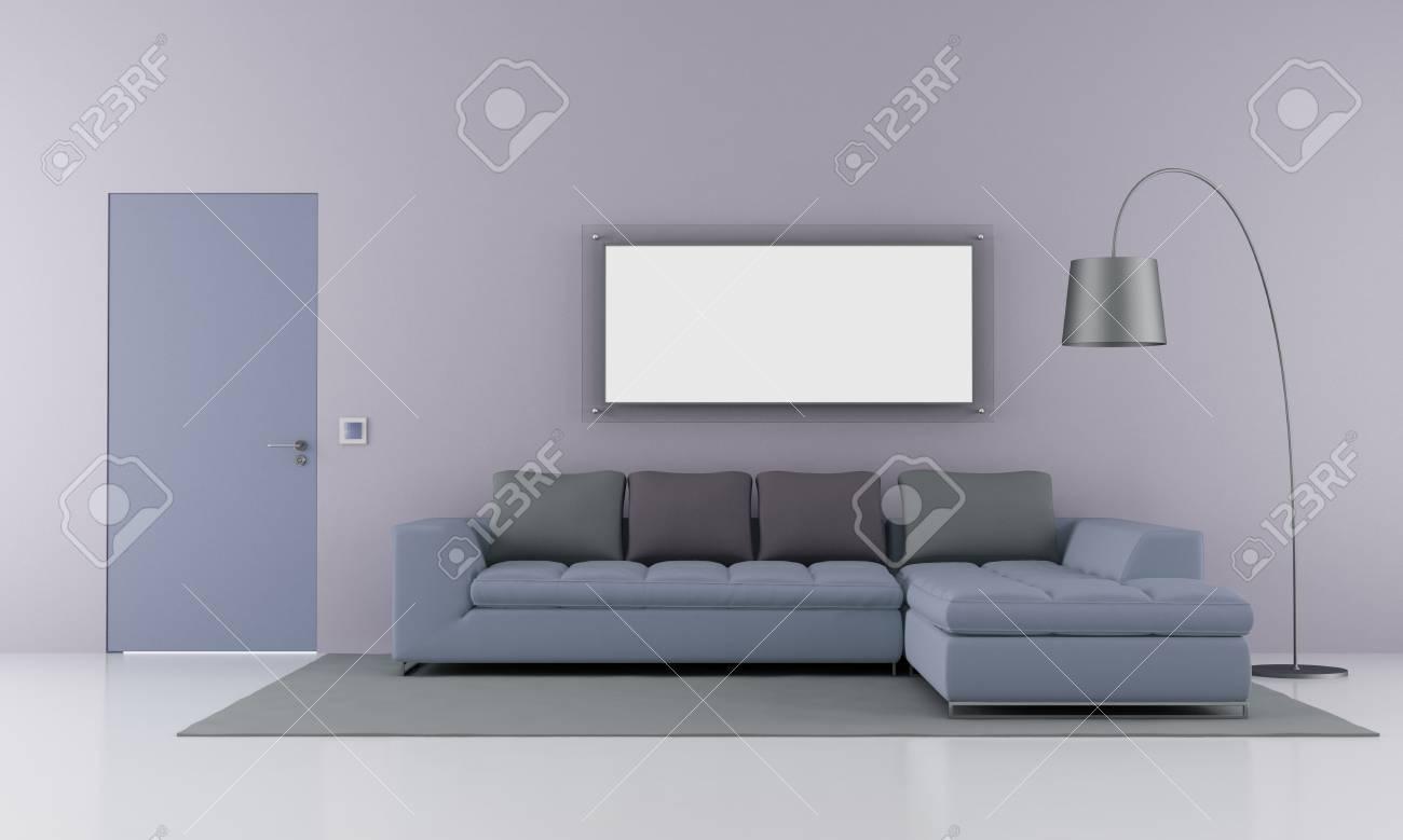 Minimaliste salon avec canapé moderne et porte fermée - rendu