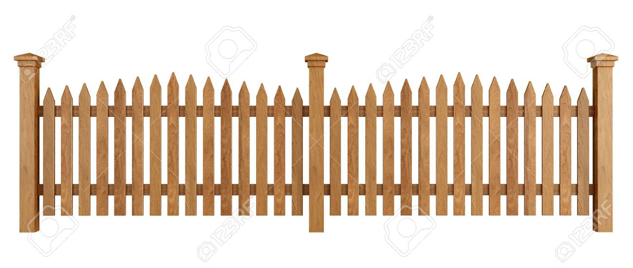 Wooden fence isolated on white background - rendering Stock Photo - 24597715