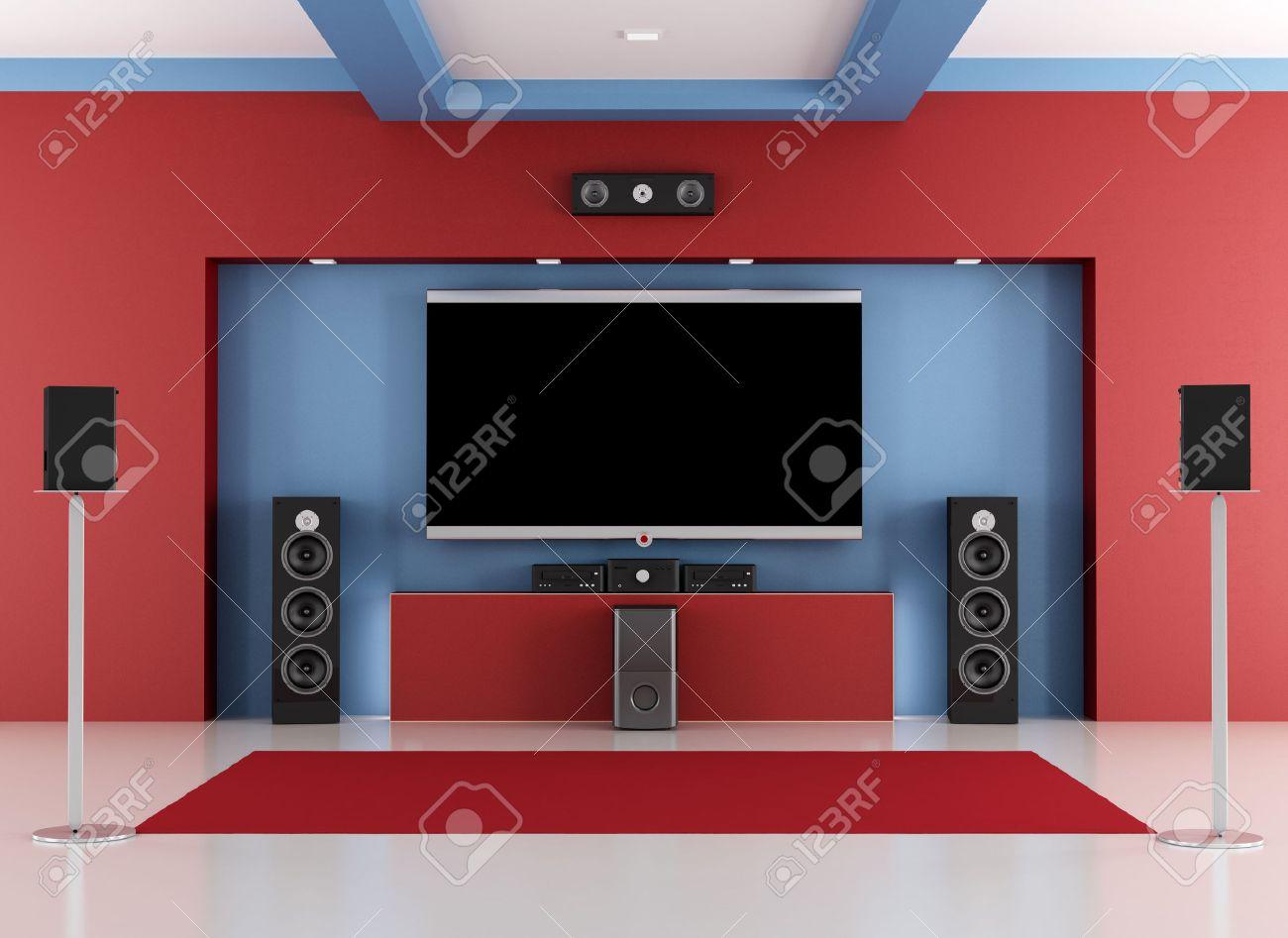 La Maison Chambre Rouge Et Bleu De Cinéma Avec Télévision à écran ...
