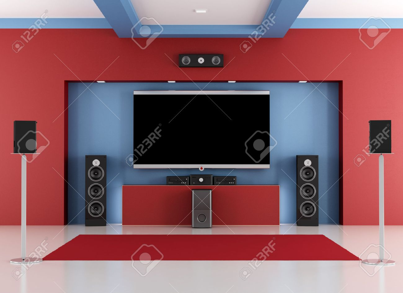 Rood en blauw home cinema kamer met led tv   rendering royalty ...