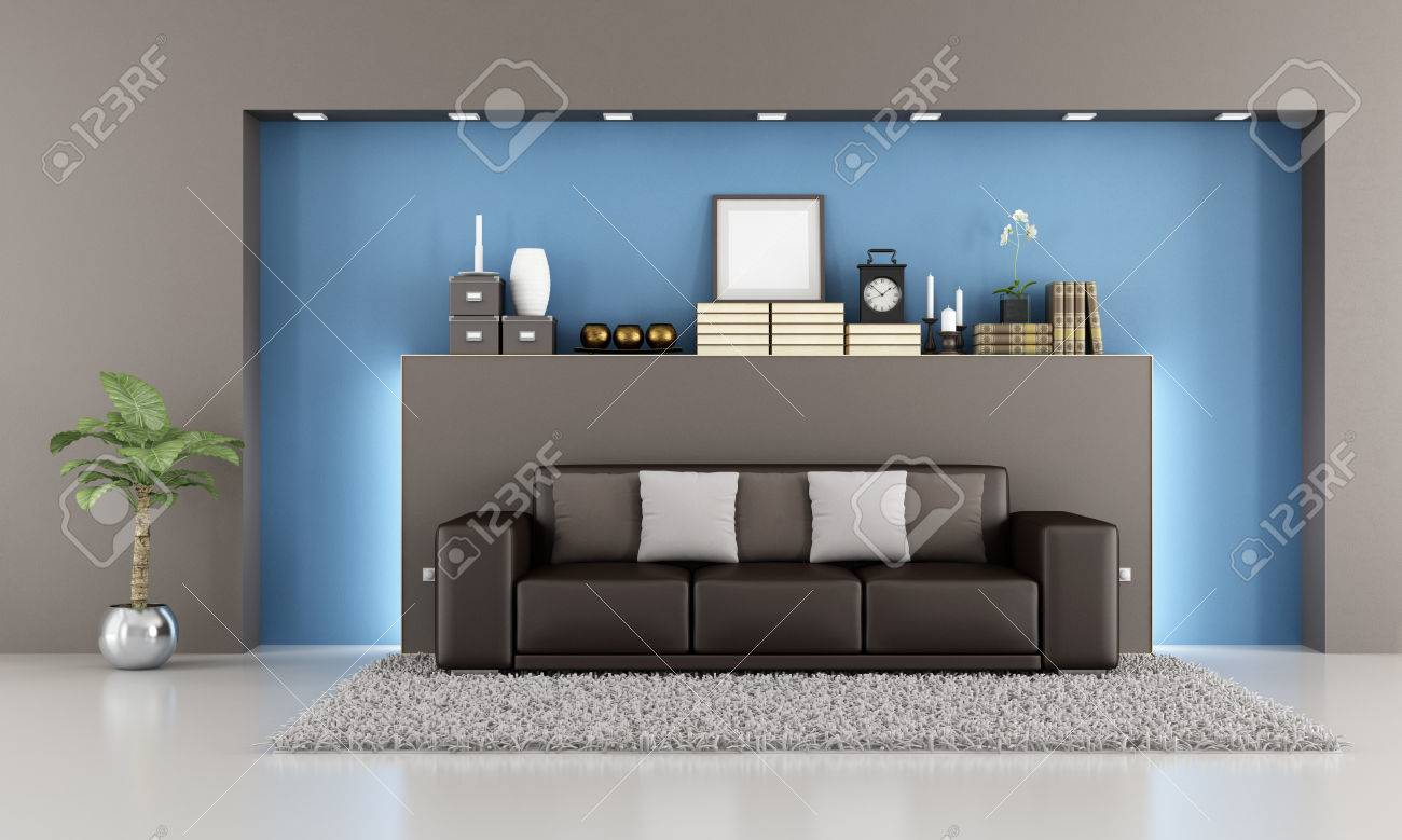 Elegantes Wohnzimmer Mit Braunen Sofa Und Nische