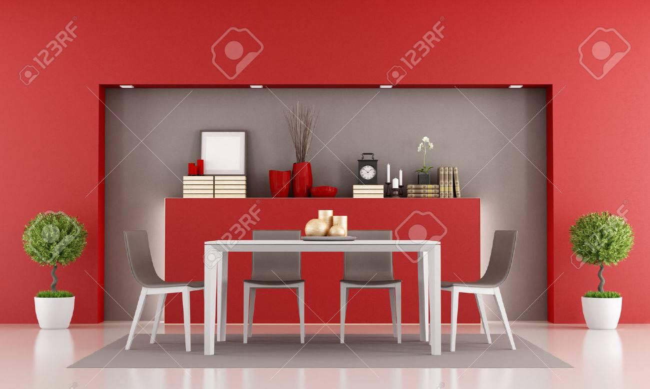 red esszimmer mit nischen-und minimalistischen tisch - rendering, Esszimmer dekoo