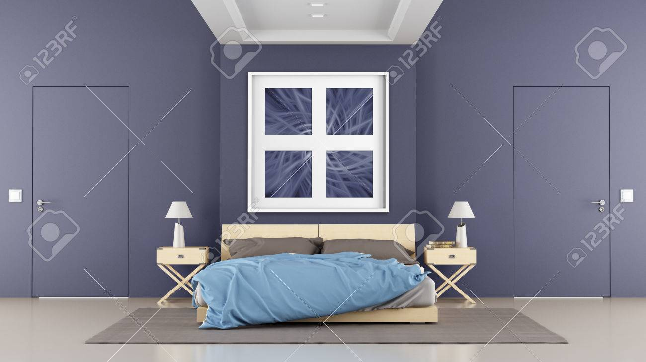 Contemporary bedroom with double bed and two closed doors - rendering - the art picture on wall is amy composition Stock Photo - 25278635