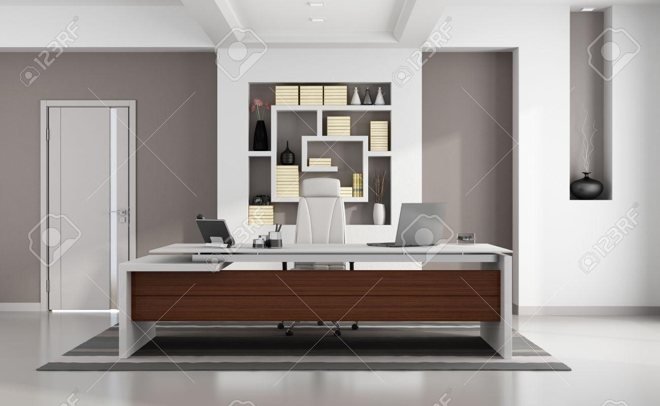 Elegantes Escritorios De Oficina Modernos.Contemporaneo Moderna Oficina Con Escritorio Elegante Nicho Y La Puerta Cerrada