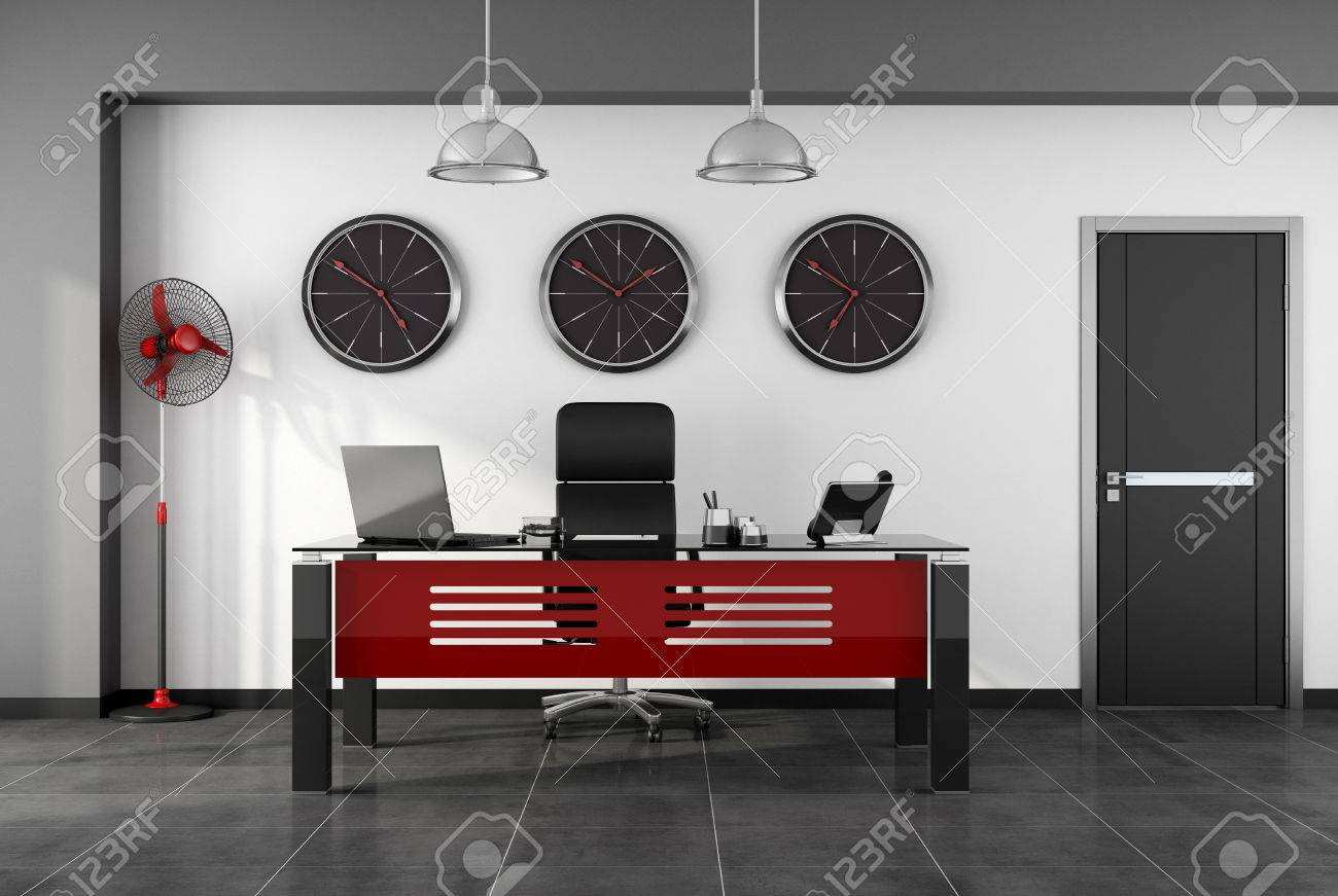 Pleasing Red And Black Modern Office With Desk Chair Fan And Closed Door Ocoug Best Dining Table And Chair Ideas Images Ocougorg