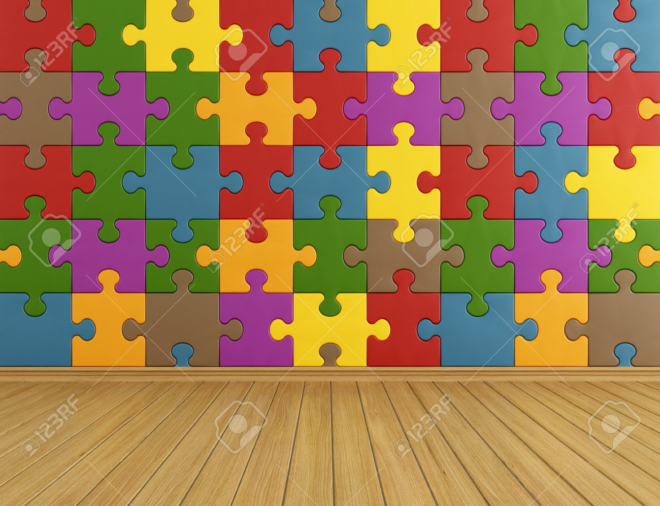 Toys Room With Colorful Puzzle On Wall And Wooden Floor