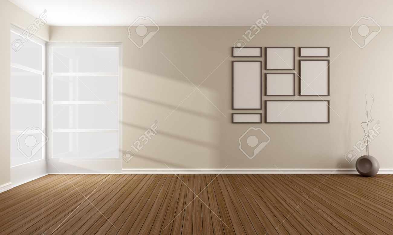 Minimalist Living Room With Windows Without Furniture Rendering Stock Photo Picture And Royalty Free Image Image 25529216