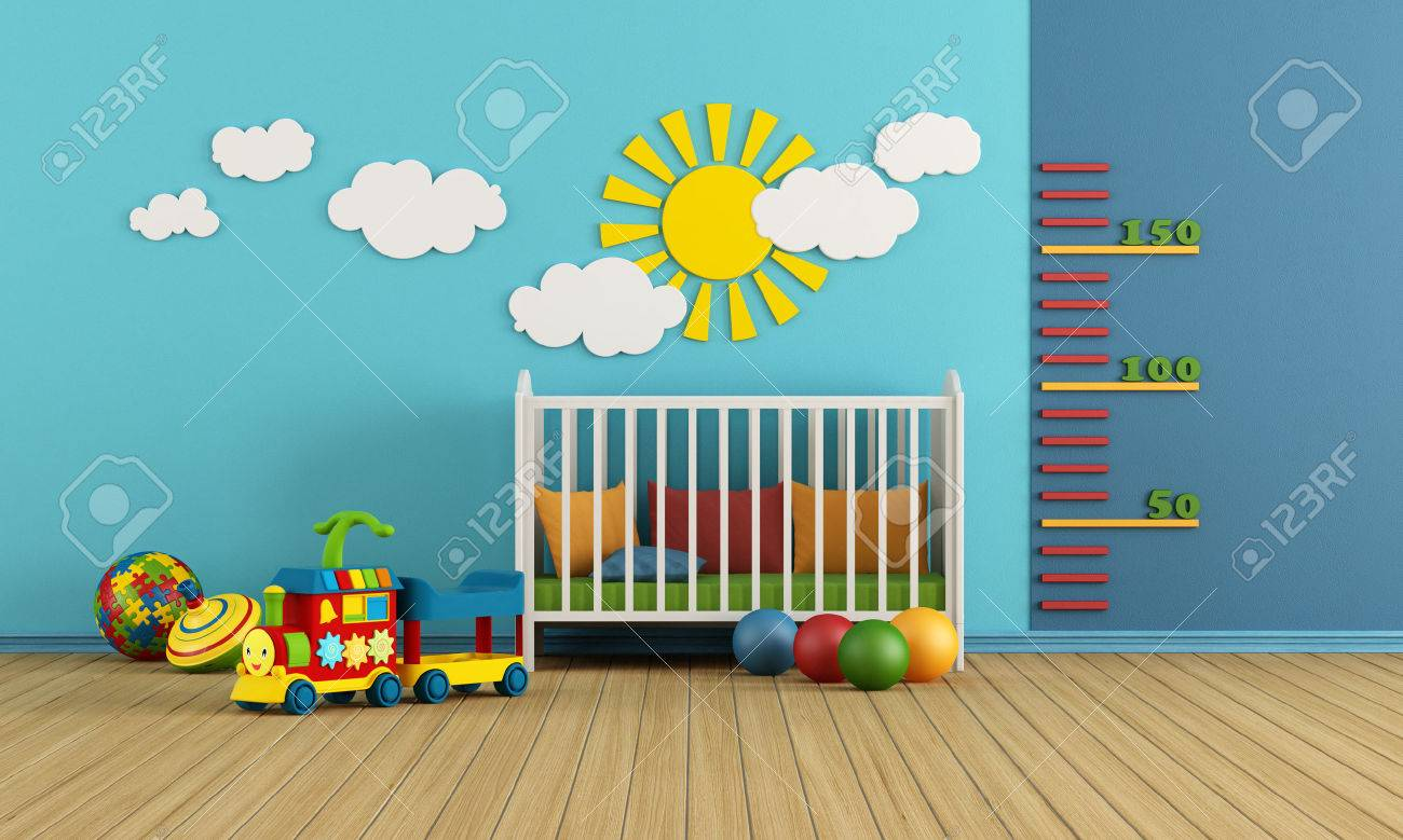 Child room with baby crib and toys - rendering - 25861146