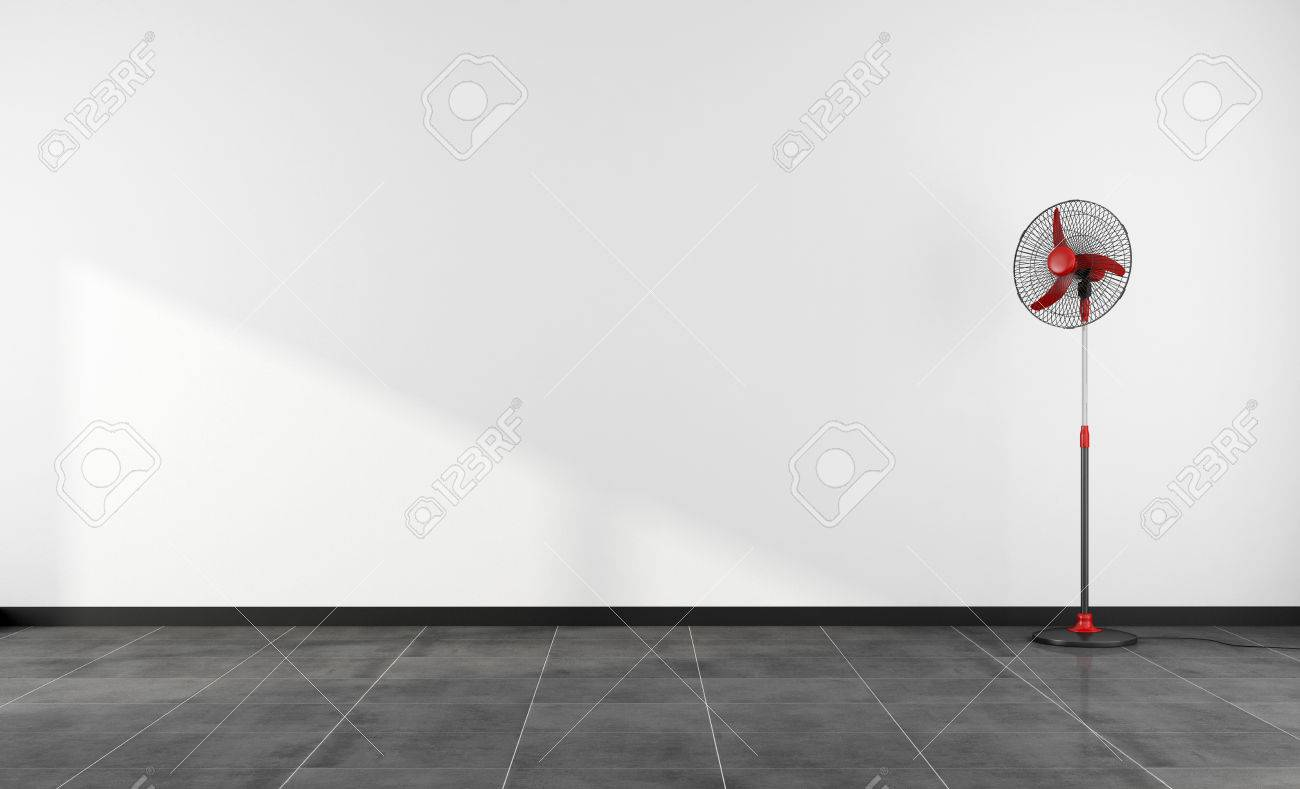 Minimalist Empty Room With Red Fan