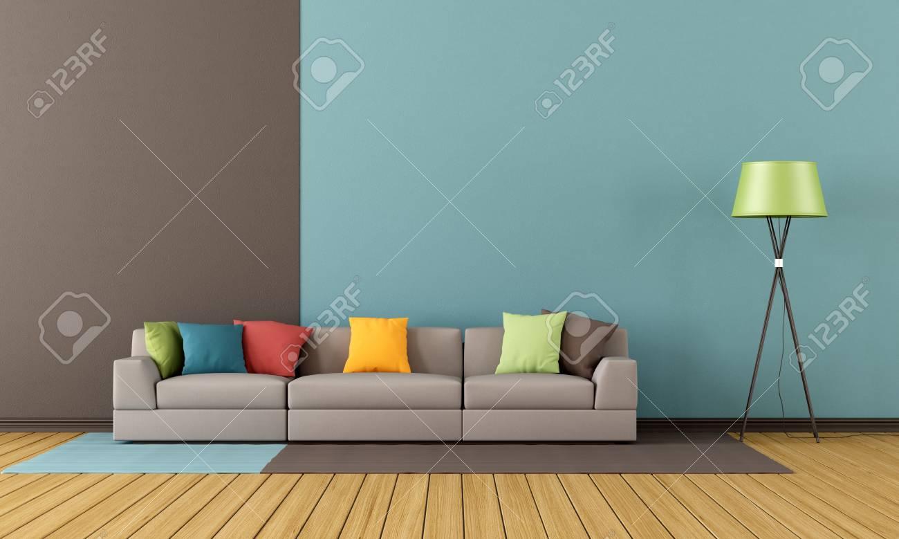 Salon Moderne Avec Canapé Coloré - Rendu Banque D\'Images Et Photos ...