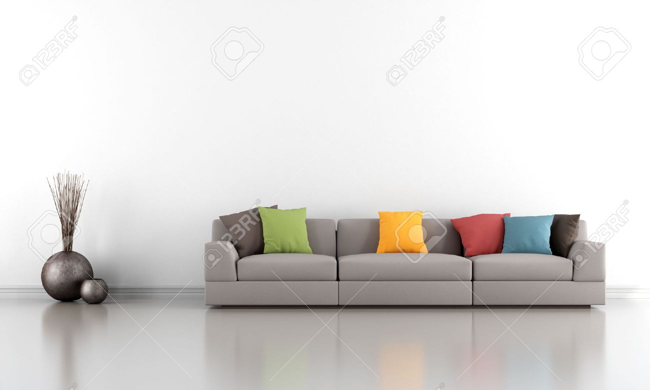 Minimalist Living Room With White Wall And Colorful Sofa - Rendering ...