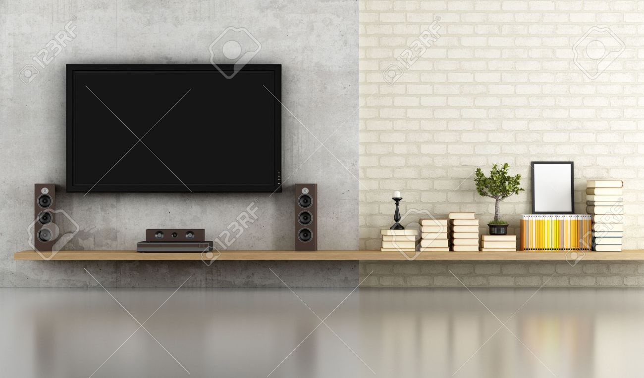 Living Room Without Furniture With Shelf Tv And Concrete Panel  # Meuble Tv Composition
