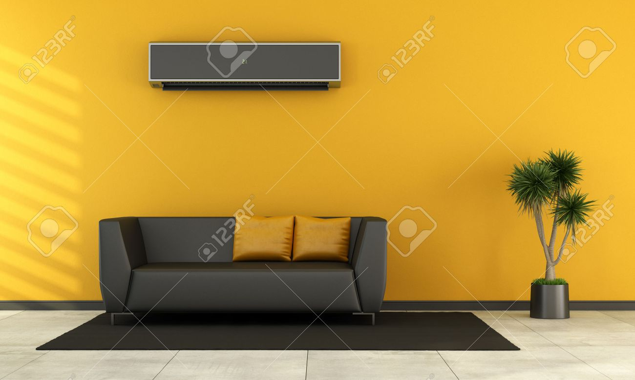 Orange And Yellow Living Room Modern Living Room With Black Couch And Air Conditioner On Wall