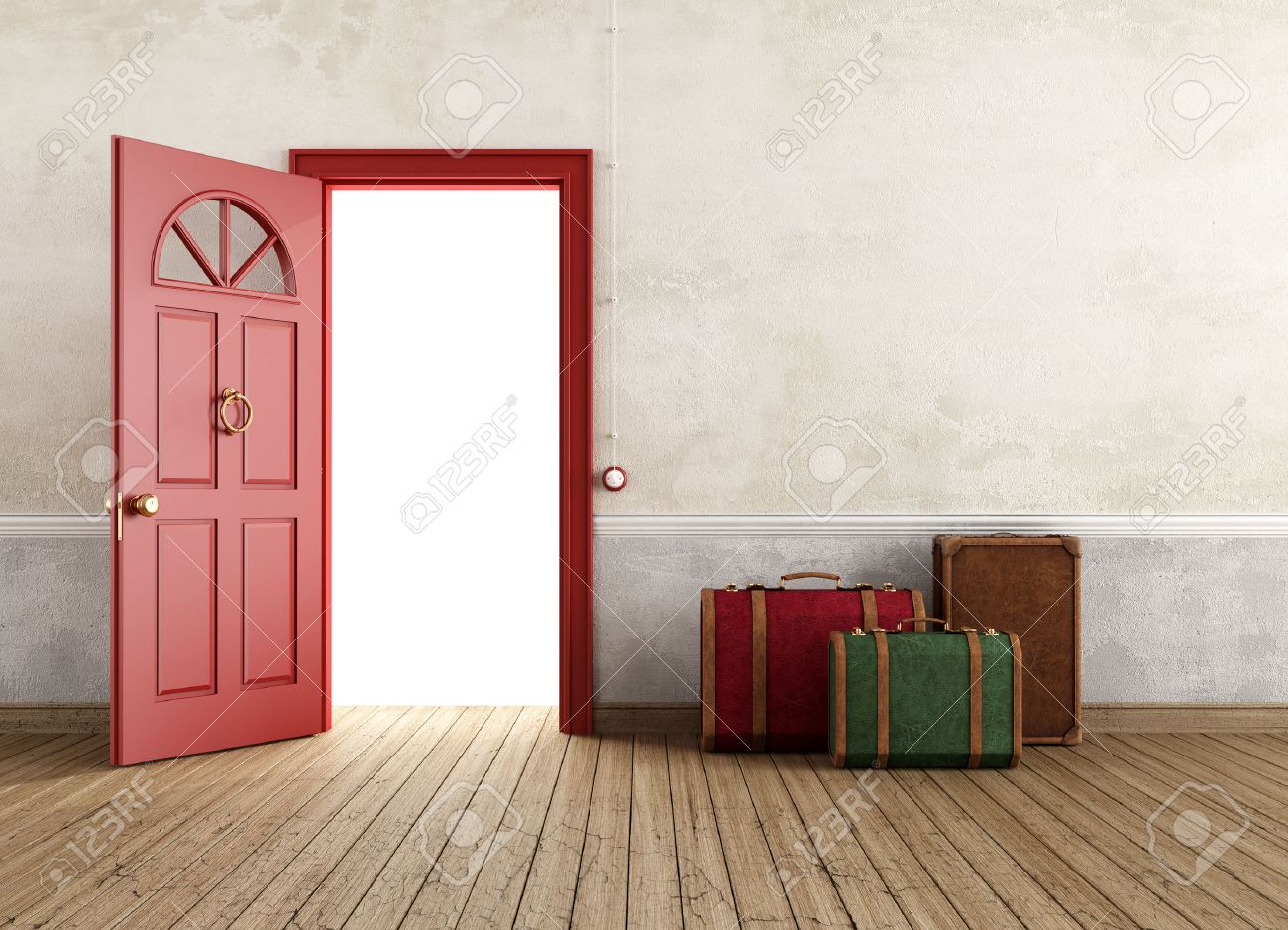 Stock Photo - Vintage empty interior with three travel bags near the front door open - rendering & Vintage Empty Interior With Three Travel Bags Near The Front.. Stock ...