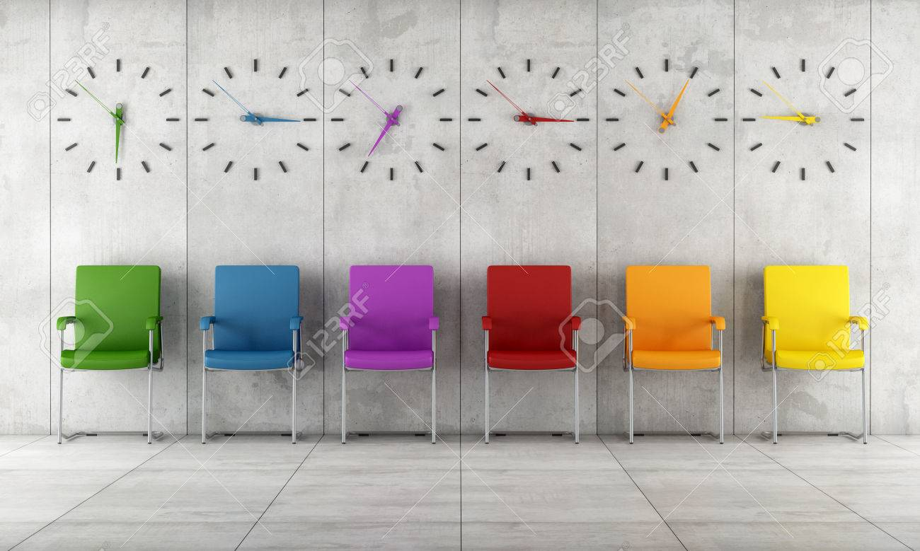 Stock Photo   Waiting Room With Colorful Chairs And Clocks   Rendering