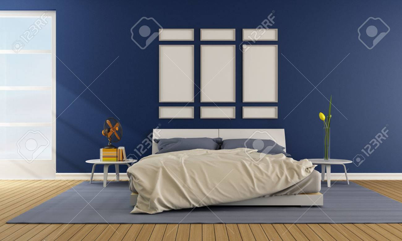 Contemporary blue bedroom with double bed - rendering
