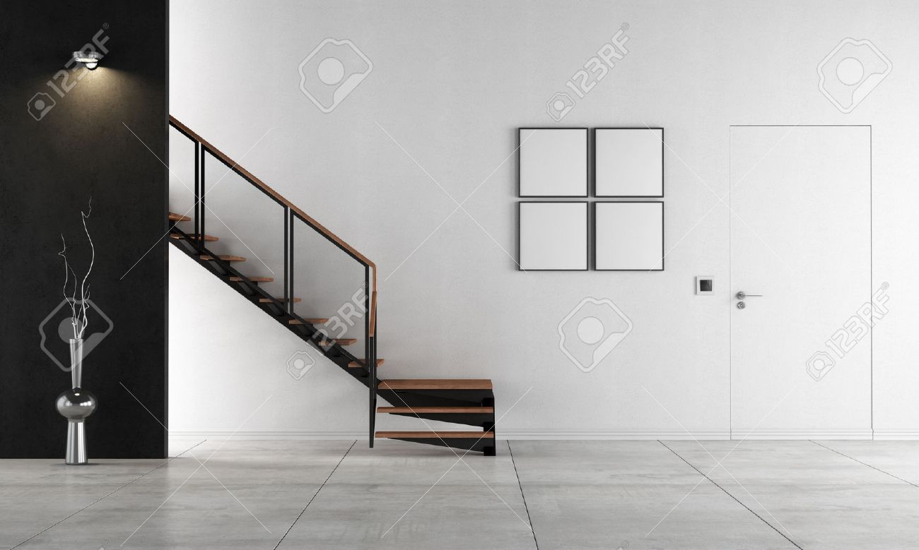 black and white living room with staircase - rendering stock photo