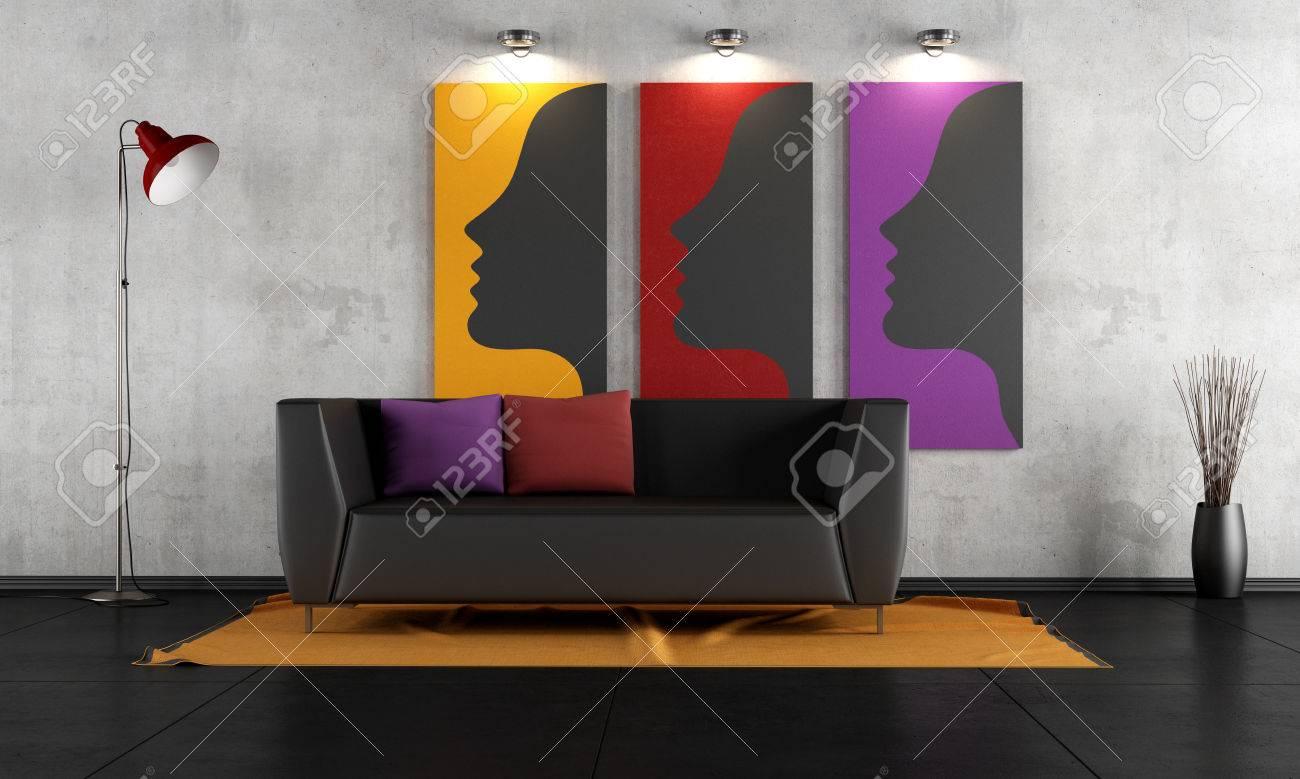 Eigentijdse woonkamer met zwarte bank op tapijt rendering the art
