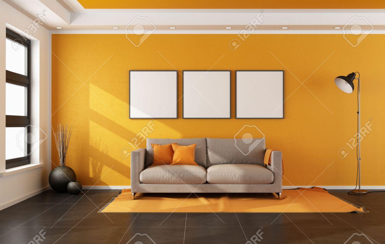 Salon moderne avec mur orange et canapé sur le tapis - rendu