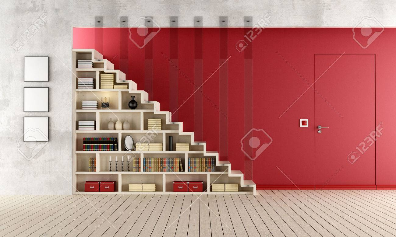 Living Room With A Staircase, Bookcase And Door Flush With The Wall    Rendering Stock