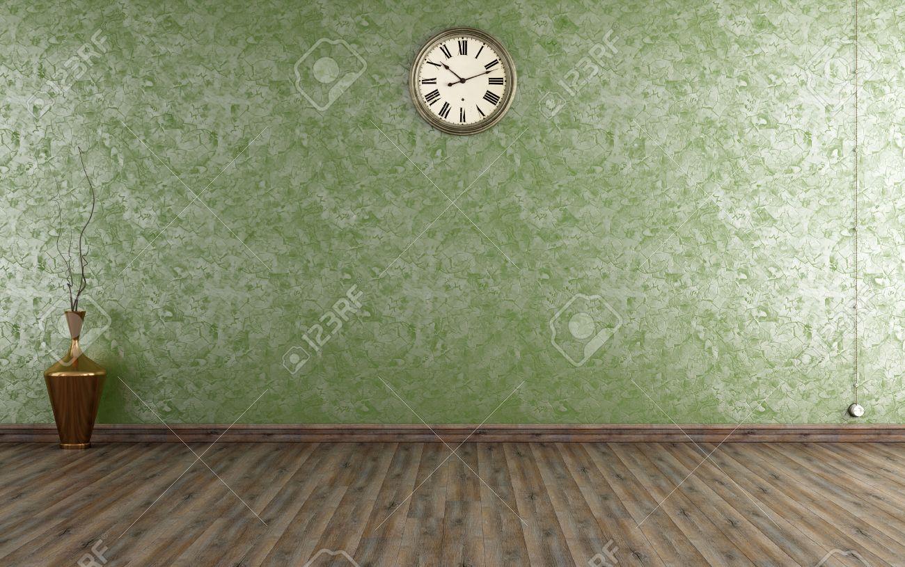 weinleseraum mit venezianischen putz wand in grün - rendering