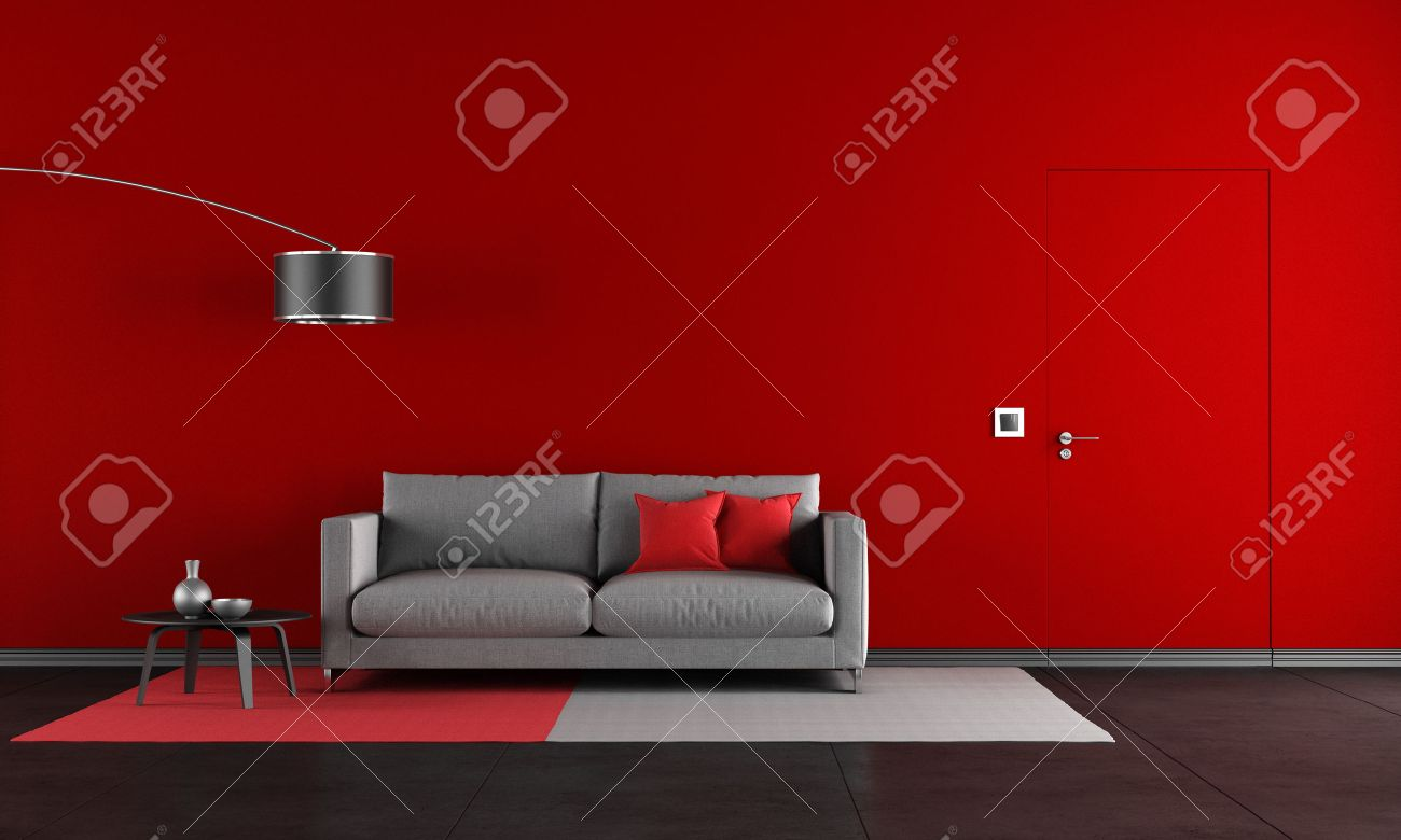 Red And Black Living Room With Modern Sofa And Door - Rendering ...