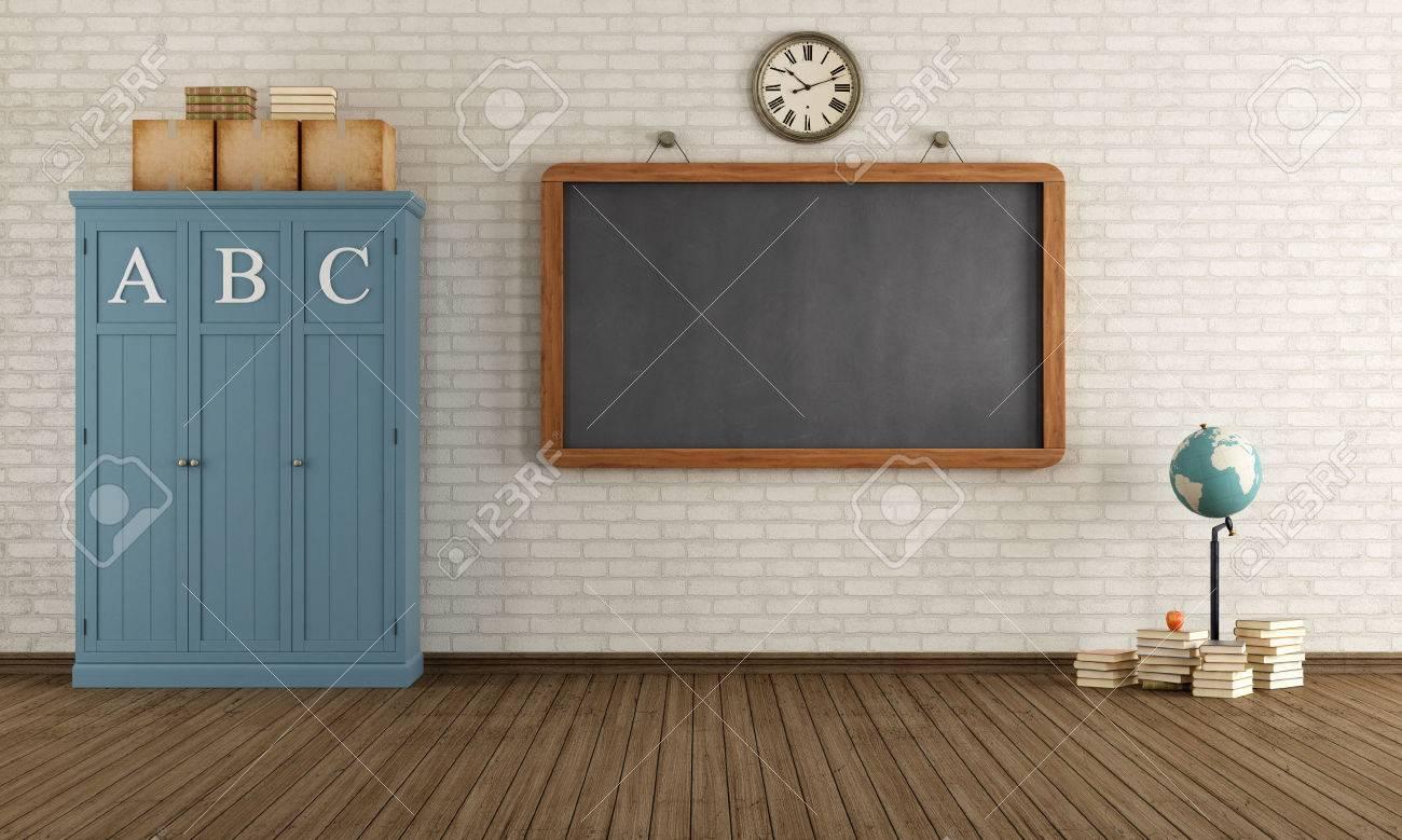 Beste Vintage Klassenzimmer Mit Tafel Und Holzschränke - Rendering OH-06