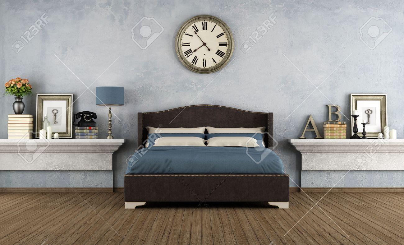 Camera da letto con letto matrimoniale d\'epoca e oggetti retrò - rendering