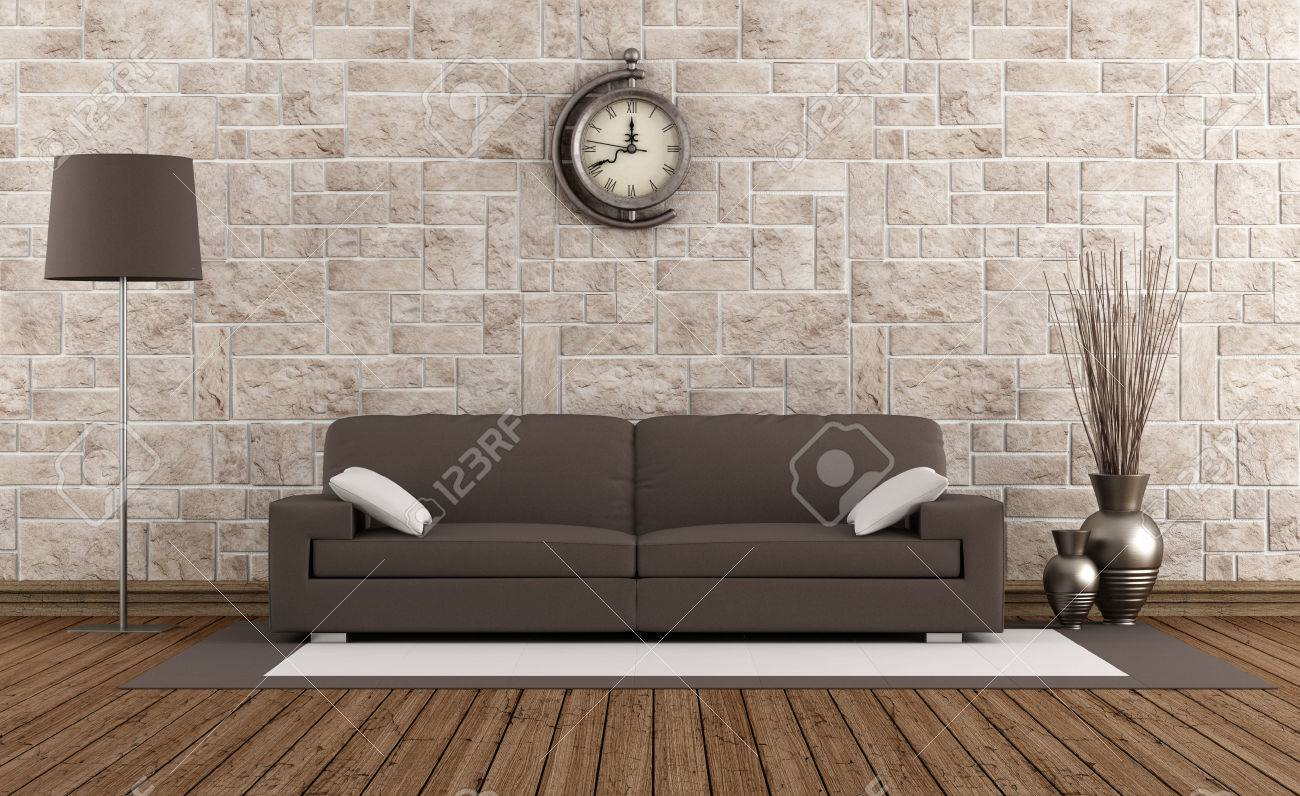 Retro room with stone wall and modern brown sofa - rendering