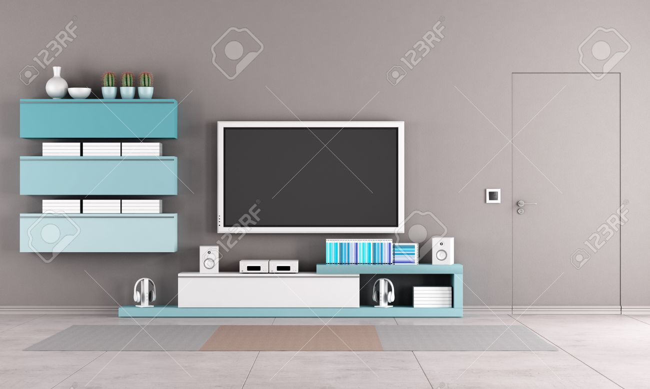 Colorful Living Room With Tv Standcabinet And Close Door Stock Photo