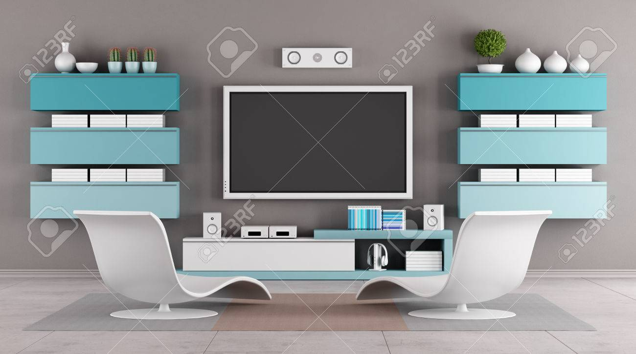 Modern Living Room With Tv Wall Unit   Rendering Stock Photo   29652850