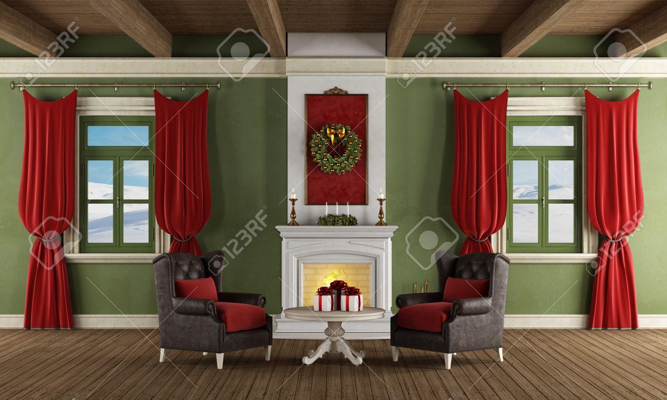Luxe Salon Avec Cheminee Deux Fauteuils En Cuir Et Decoration De