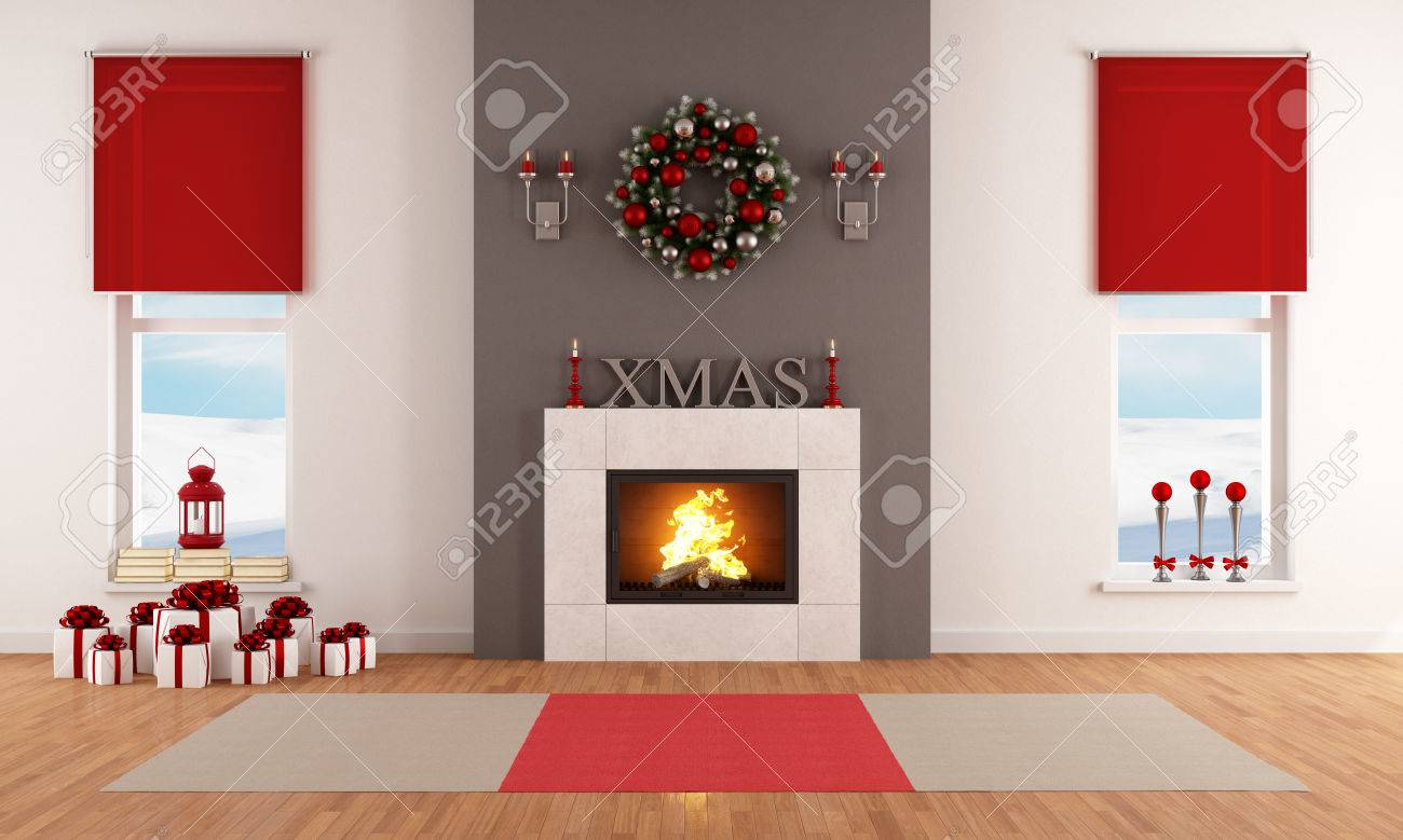 Modern christmas living room with fireplace and decoration stock