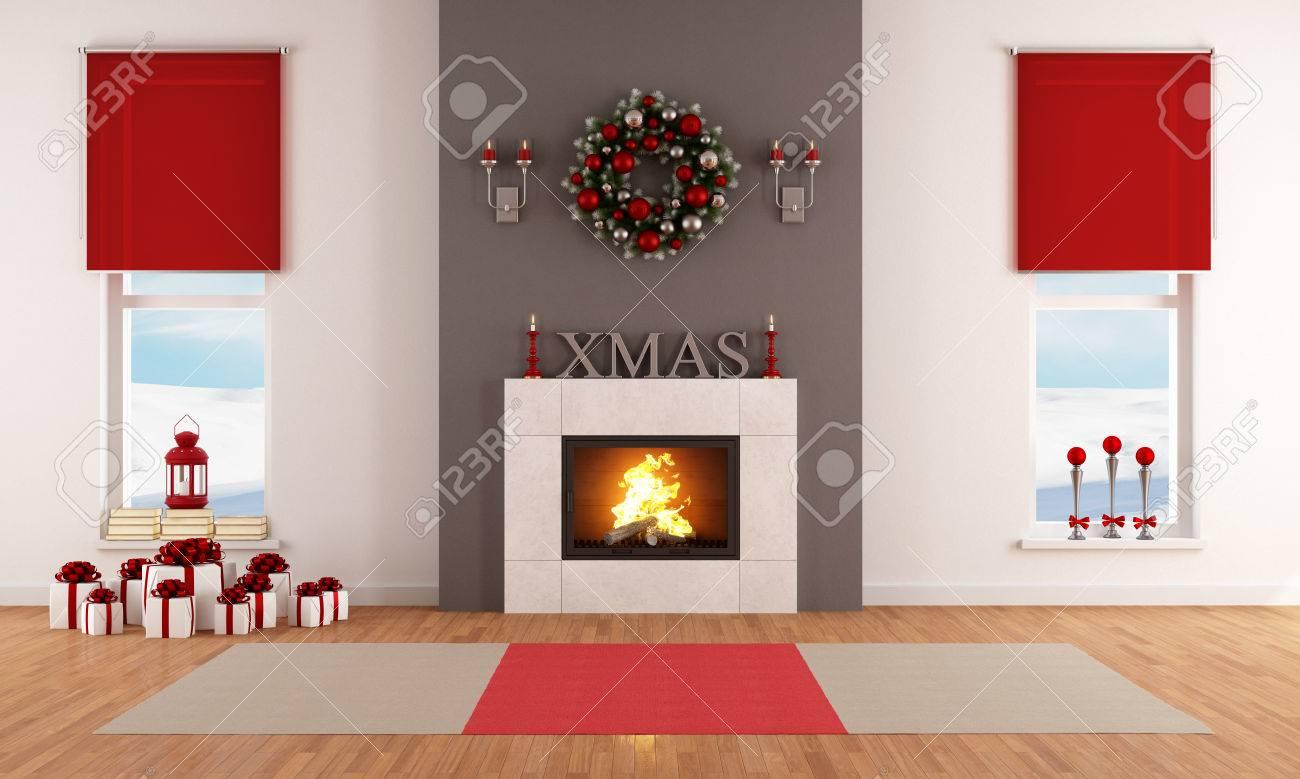 Moderne Salon Avec Cheminée De Noël Et De La Décoration Banque D ...
