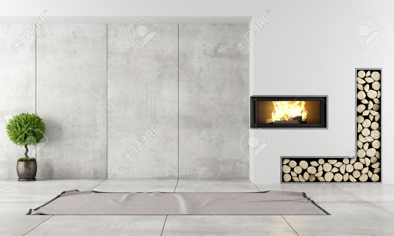 Minimalist Living Room With Fireplace Without Furniture Stock Photo