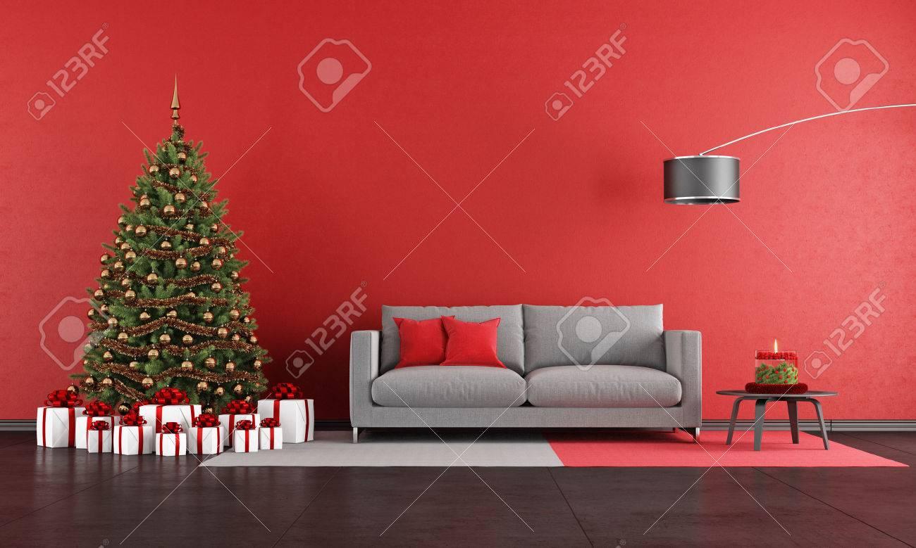 Xmas Living Room Modern Christmas Living Room With Sofatree And Present