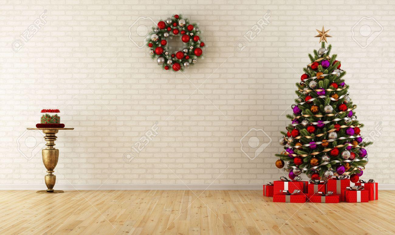 Christmas Room tree brick wall stock photos & pictures. royalty free tree brick